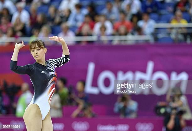 LONDON Britain Japan's Rie Tanaka performs in the floor exercise during the women's gymnastics allaround final at North Greenwich Arena at the 2012...