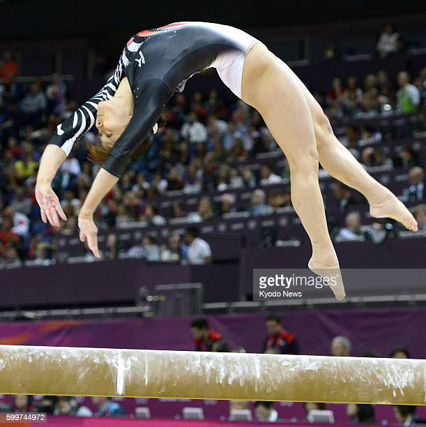 LONDON Britain Japan's Rie Tanaka performs on the balance beam during the women's gymnastics allaround final at North Greenwich Arena at the 2012...