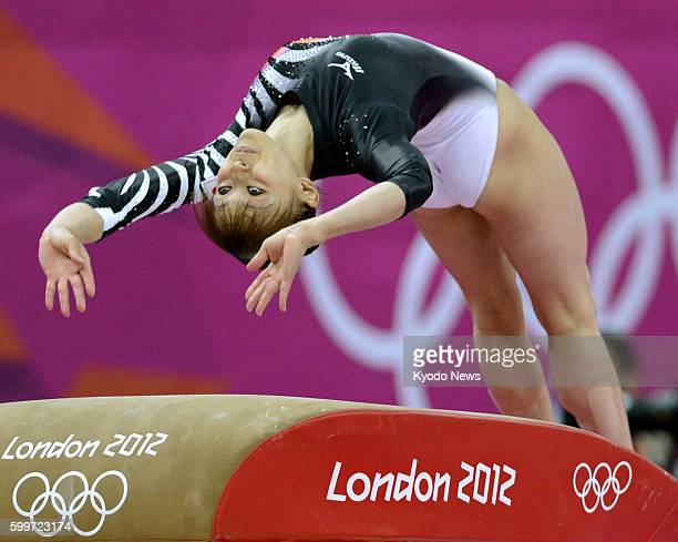 LONDON Britain Japan's Rie Tanaka performs on the vault during the London Olympic women's gymnastics team final at the North Greenwich Arena on July...