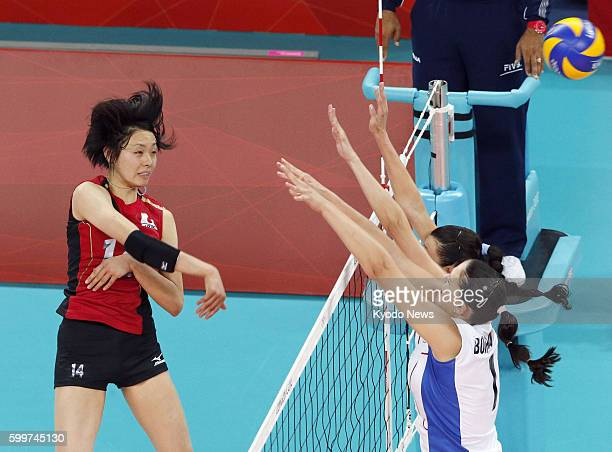 LONDON Britain Japan's Saori Sakoda spikes the ball during the second set of a match against Russia in the Olympic women's volleyball tournament at...
