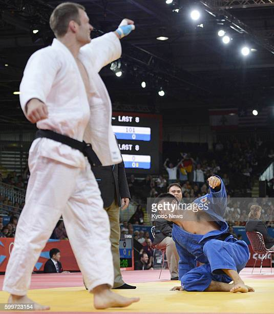 LONDON Britain Japan's Takahiro Nakai loses to Germany's Ole Bischof during the quarterfinals in the men's judo 81kilogram category at the 2012...