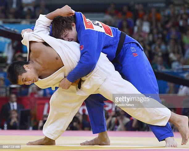 LONDON Britain Japan's Takahiro Nakai takes on Russia's Ivan Nifontov in a match for third place in the men's judo 81kilogram category at the 2012...