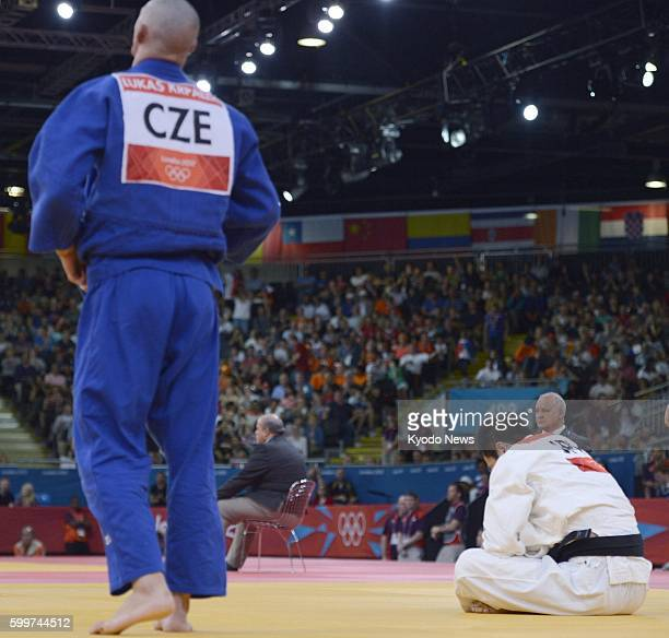 LONDON Britain Japan's Takamasa Anai is stunned after losing to Czech Lukas Krpalek in the round of 16 in the men's judo 100kilogram category at the...