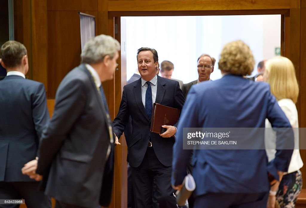 Britain Prime Minister David Cameron attends an EU summit meeting on June 28, 2016 at the European Union headquarters in Brussels. Prime Minister David Cameron said today he wants the 'closest possible' relations with the EU after Britain voted to leave the bloc, adding the split should be 'as constructive as possible'. As he arrived at a Brussels summit, Cameron, who is to step down within weeks, told reporters that, while Britain was leaving the EU, 'we mustn't be turning our backs on Europe.' SAKUTIN