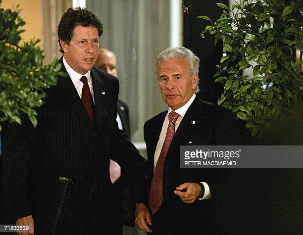 Britain Prime Minister Tony Blair's personal Middle East envoy Lord Levy stands with foreign policy advisor Sir Nigel Sheinwald at a press conference...