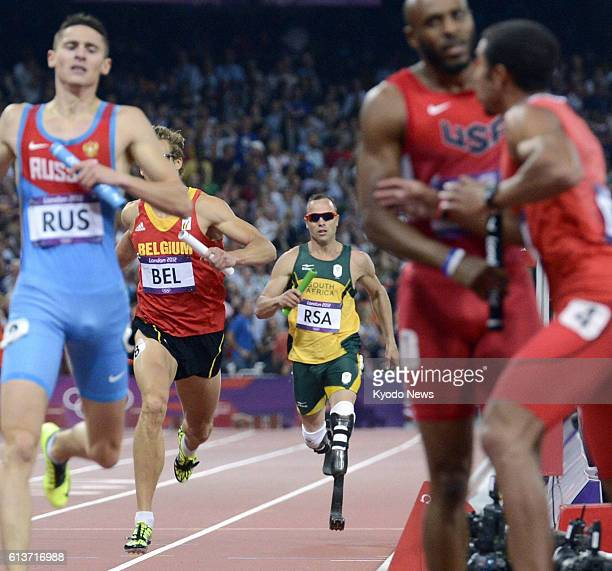 LONDON Britain South African team anchor Oscar Pistorius a doubleamputee runner competes in the men's 4x400meter relay final at the Olympic Stadium...