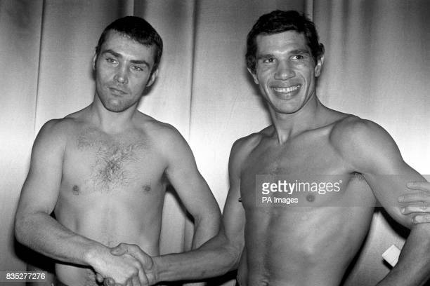 Britain's Alan Minter left shakes hands with Frenchman Gratien Tonna at the weighin for their title fight