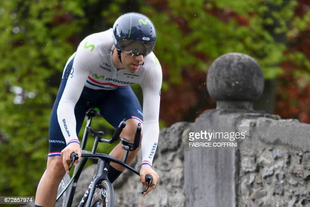 Britain's Alex Dowsett of Movistar Team rides take second place of the 48 km prologue of the Tour of Romandy UCI protour cycling race on April 25...