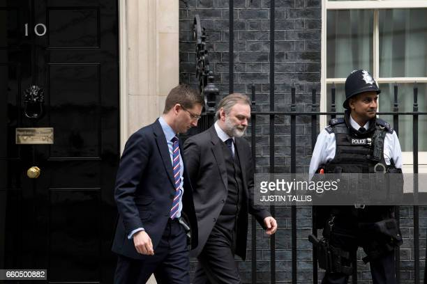 Britain's ambassador to the EU Tim Barrow leaves 10 Downing Street in London on March 30 2017 Calling for a 'deep and special partnership' with...