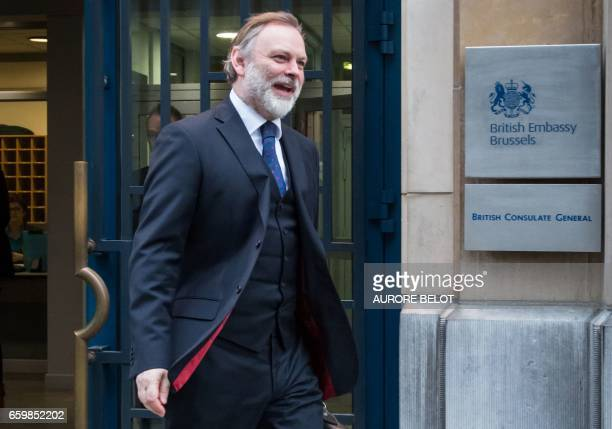Britain's ambassador to the EU Tim Barrow leaves the UK representation to the EU Tim Barrow in Brussels on March 29 2017 Tim Barrow will deliver to...