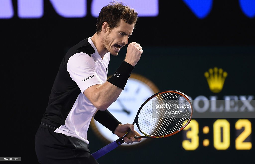 Britain's <a gi-track='captionPersonalityLinkClicked' href=/galleries/search?phrase=Andy+Murray+-+Tennis+Player&family=editorial&specificpeople=200668 ng-click='$event.stopPropagation()'>Andy Murray</a> celebrates a point during his men's singles semi-final match against Canada's Milos Raonic on day twelve of the 2016 Australian Open tennis tournament in Melbourne on January 29, 2016. AFP PHOTO / WILLIAM WEST-- IMAGE RESTRICTED TO EDITORIAL USE - STRICTLY NO COMMERCIAL USE / AFP / WILLIAM WEST