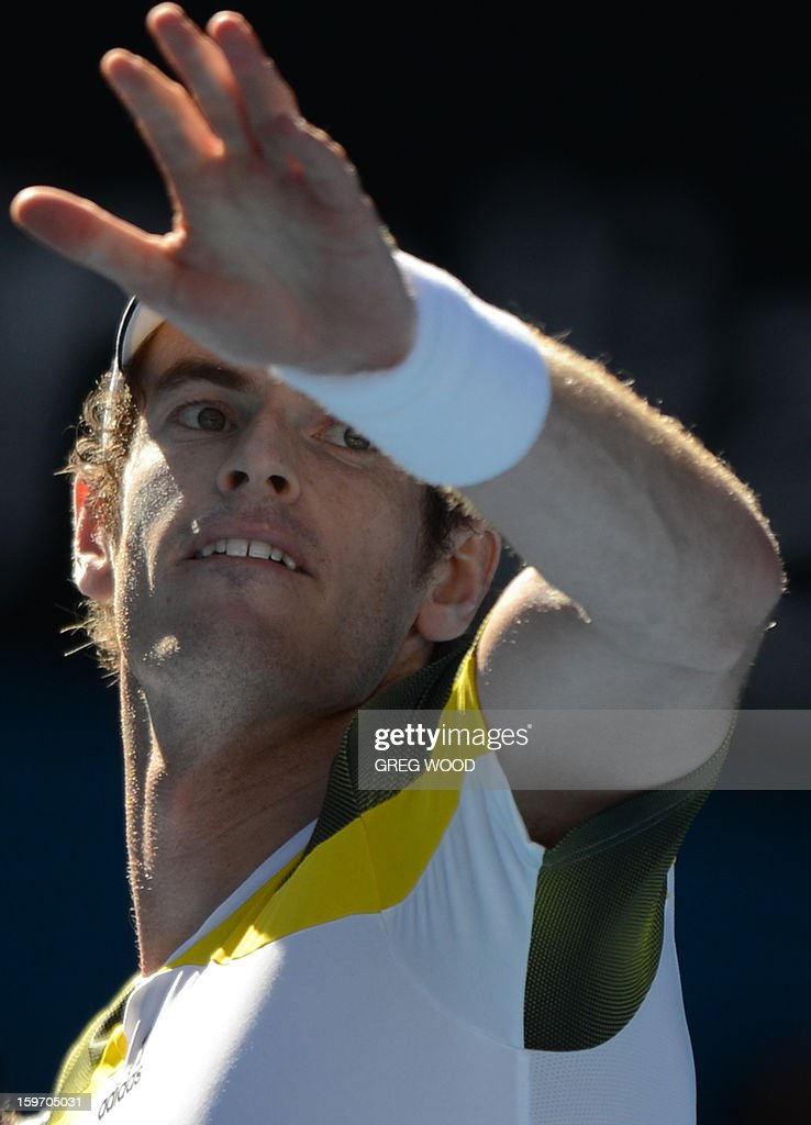 Britain's Andy Murray celebrates after victory in his men's singles match against Ricardas Berankis of Lithuania on the sixth day of the Australian Open tennis tournament in Melbourne on January 19, 2013.