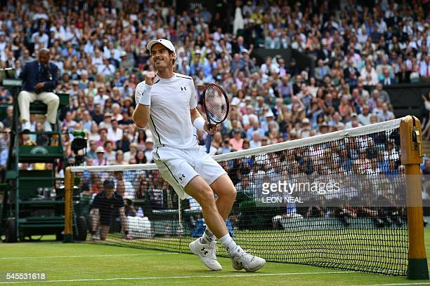 Britain's Andy Murray celebrates beating Czech Republic's Tomas Berdych in their men's singles semifinal match on the twelfth day of the 2016...