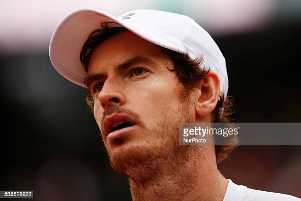 Britain's Andy Murray during his men's semifinal match against Switzerland's Stanislas Wawrinka at the Roland Garros 2016 French Tennis Open in Paris...