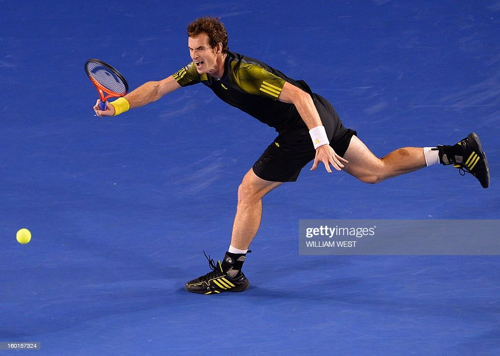 Britain's Andy Murray hits a return against Serbia's Novak Djokovic during the men's singles final on day 14 of the Australian Open tennis tournament in Melbourne on January 27, 2013. AFP PHOTO / WILLIAM WEST IMAGE STRICTLY RESTRICTED TO EDITORIAL USE - STRICTLY NO COMMERCIAL USE