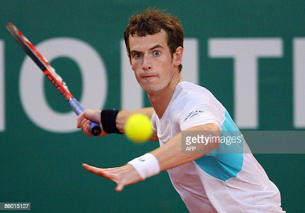 Britain's Andy Murray hits a return to his Russian opponent Nikolay Davidenko during their MonteCarlo ATP Masters tournament tennis match on April 17...