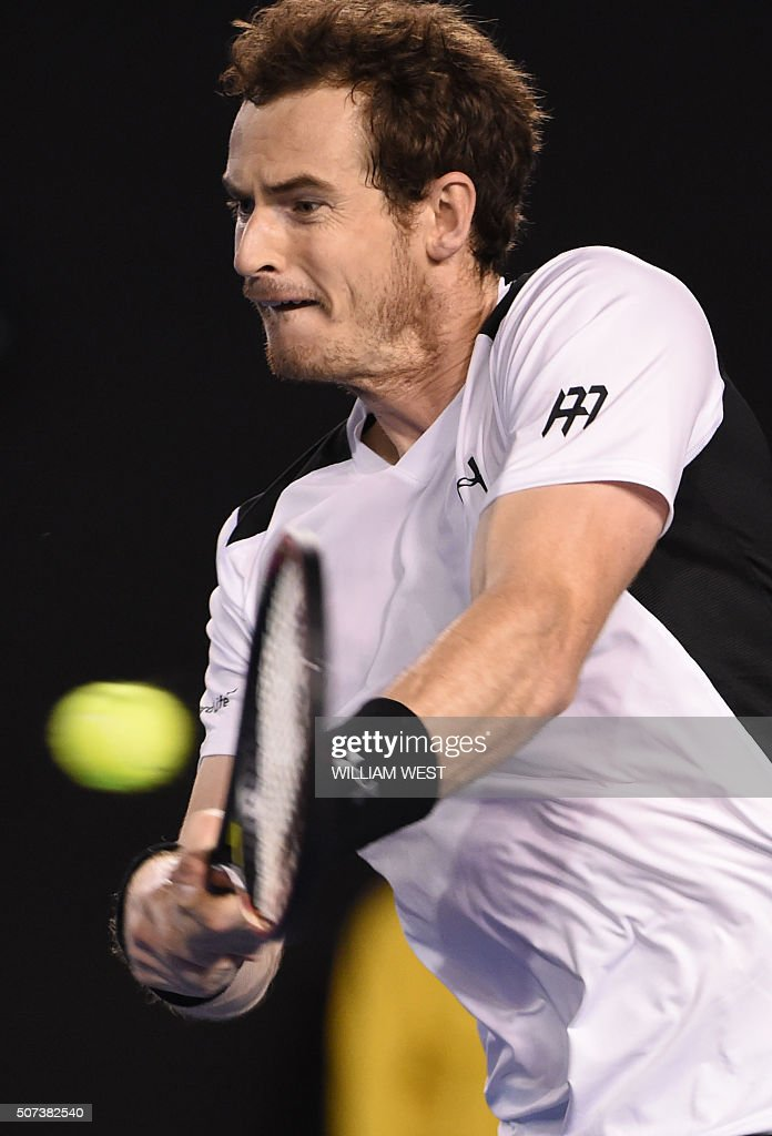 Britain's <a gi-track='captionPersonalityLinkClicked' href=/galleries/search?phrase=Andy+Murray+-+Tennis+Player&family=editorial&specificpeople=200668 ng-click='$event.stopPropagation()'>Andy Murray</a> plays a backhand return during his men's singles semi-final match against Canada's Milos Raonic on day twelve of the 2016 Australian Open tennis tournament in Melbourne on January 29, 2016. AFP PHOTO / WILLIAM WEST-- IMAGE RESTRICTED TO EDITORIAL USE - STRICTLY NO COMMERCIAL USE / AFP / WILLIAM WEST