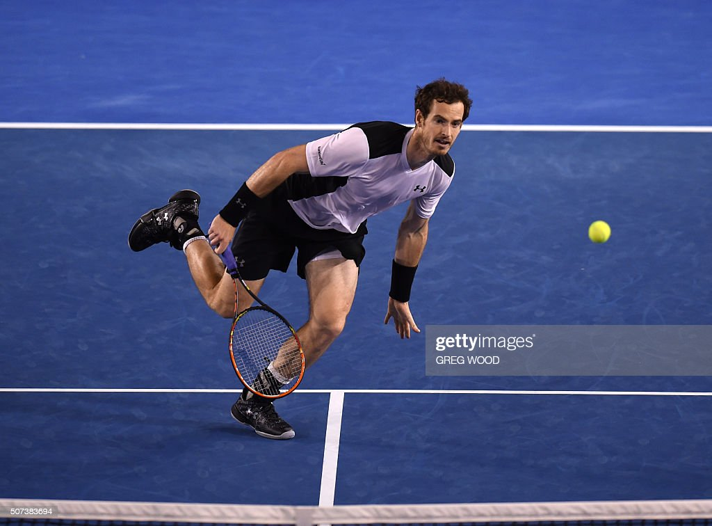 Britain's <a gi-track='captionPersonalityLinkClicked' href=/galleries/search?phrase=Andy+Murray+-+Tennis+Player&family=editorial&specificpeople=200668 ng-click='$event.stopPropagation()'>Andy Murray</a> plays a forehand return during his men's singles semi-final match against Canada's Milos Raonic on day twelve of the 2016 Australian Open tennis tournament in Melbourne on January 29, 2016. AFP PHOTO / GREG WOOD-- IMAGE RESTRICTED TO EDITORIAL USE - STRICTLY NO COMMERCIAL USE / AFP / GREG WOOD