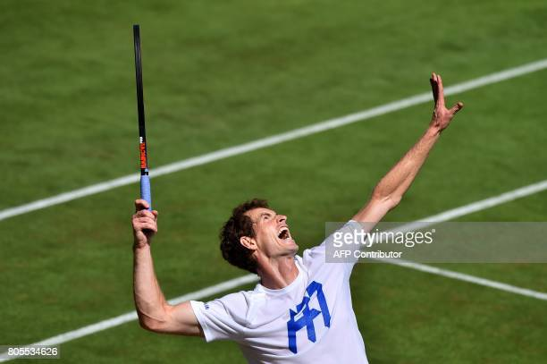 TOPSHOT Britain's Andy Murray practices at The All England Tennis Club in Wimbledon southwest London on July 2 on the eve of the start of the 2017...