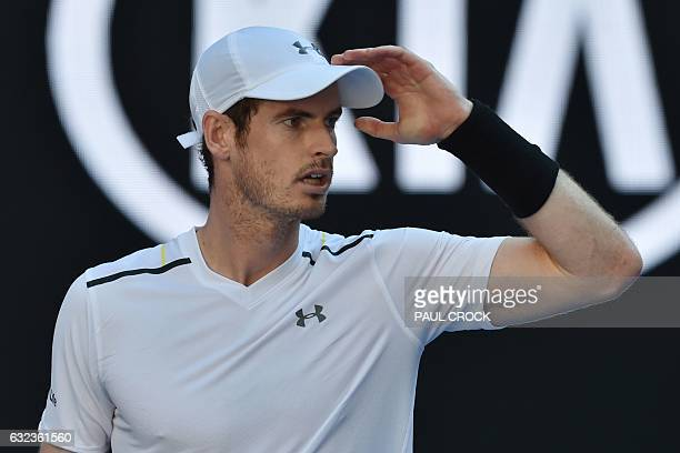 Britain's Andy Murray reacts after a point against Germany's Mischa Zverev during their men's singles fourth round match on day seven of the...