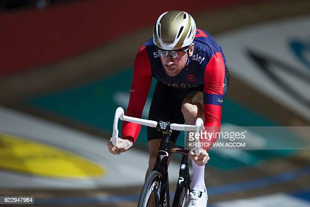 Britain's Bradley Wiggins rides his bike during a special event called 'Ciao Fabian' to say goodbye to the Swiss cycling champion Fabian Cancellara...
