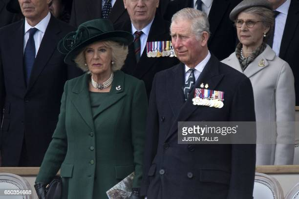 Britain's Camilla Duchess of Cornwall and Britain's Prince Charles Prince of Wales attend a Service of Commemoration and Drumhead Service on Horse...