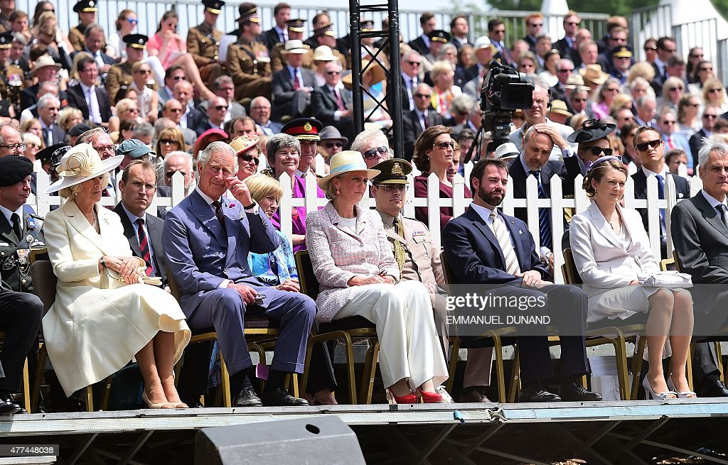 Britain's <a gi-track='captionPersonalityLinkClicked' href=/galleries/search?phrase=Camilla+-+Duchess+of+Cornwall&family=editorial&specificpeople=158157 ng-click='$event.stopPropagation()'>Camilla</a>, Duchess of Cornwall, Britain's <a gi-track='captionPersonalityLinkClicked' href=/galleries/search?phrase=Prince+Charles+-+Prince+of+Wales&family=editorial&specificpeople=160180 ng-click='$event.stopPropagation()'>Prince Charles</a>, Prince of Wales, Belgium's Princess Astrid, <a gi-track='captionPersonalityLinkClicked' href=/galleries/search?phrase=Hereditary+Grand+Duke+of+Luxembourg+Guillaume&family=editorial&specificpeople=9494017 ng-click='$event.stopPropagation()'>Hereditary Grand Duke of Luxembourg Guillaume</a> and his wife Hereditary Grand Duchess Stephanie attend the re-opening ceremony of Hougoumont Farm, a farm that played a critical role in the outcome of the Battle of Waterloo in Braine-l'Alleud, Belgium, on June 17, 2015. Britain's <a gi-track='captionPersonalityLinkClicked' href=/galleries/search?phrase=Prince+Charles+-+Prince+of+Wales&family=editorial&specificpeople=160180 ng-click='$event.stopPropagation()'>Prince Charles</a> and his wife <a gi-track='captionPersonalityLinkClicked' href=/galleries/search?phrase=Camilla+-+Duchess+of+Cornwall&family=editorial&specificpeople=158157 ng-click='$event.stopPropagation()'>Camilla</a> on June 17 unveiled a memorial to the allied soldiers who defeated French emperor Napoleon's forces at the Battle of Waterloo two hundred years ago. The royal couple visited the renovated Hougoumont farmhouse where allied forces fought off a bloody French advance on June 18, 1805, in one of the most decisive moments in the battle.