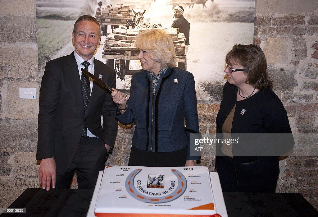 Britain's Camilla Duchess of Cornwall retired jockey and photographer Richard Dunwoody and Chief Executive of Brooke Petra Ingram prepare to cut the...