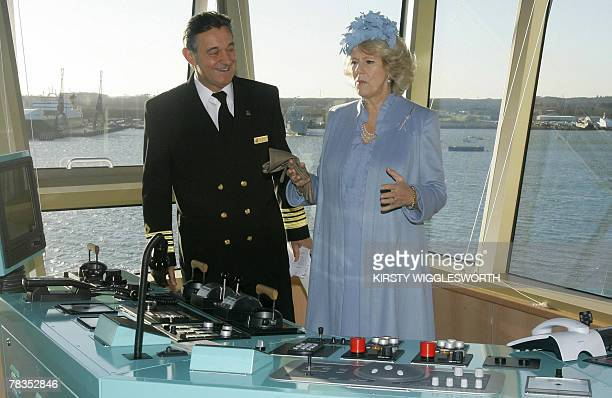 Britain's Camilla the Duchess of Cornwall is shown the ship's bridge by Capt Paul Wright during a visit to the Cunard liner 'Queen Victoria' in...