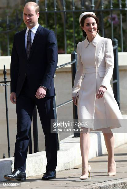 Britain's Catherine Duchess of Cambridge and Britain's Prince William Duke of Cambridge arrive to attend the Easter Sunday service at St George's...