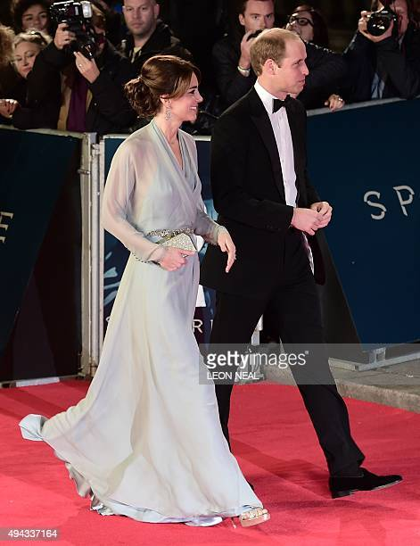 Britain's Catherine Duchess of Cambridge and Britain's William Duke of Cambridge arrive for the world premiere of the new James Bond film 'Spectre'...