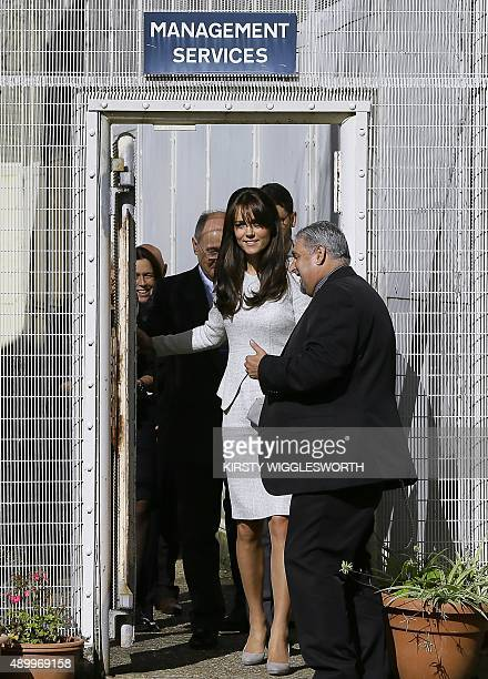 Britain's Catherine Duchess of Cambridge arrives for a visit to the women's HM Prison Send near Woking Surrey on September 25 2015 Catherine met with...