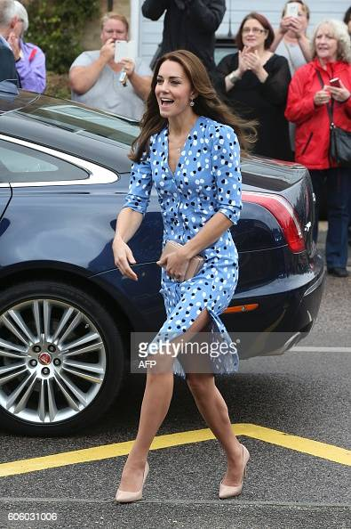Britain's Catherine Duchess of Cambridge arrives on a visit to the Stewards Academy school in Harlow Essex northeast of London on September 16 2016...