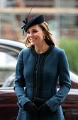 Britain's Catherine Duchess of Cambridge arrives to visit to Baker Street tube station with Queen Elizabeth II and Prince Philip Duke of Edinburgh in...