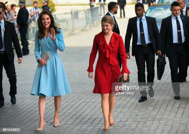 Britain's Catherine Duchess of Cambridge arrives with Belgian Countess and wife of Hereditary GrandDuke of Luxembourg Stephanie de Lannoy during the...