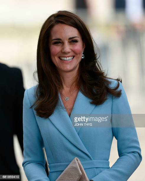 Britain's Catherine Duchess of Cambridge arrives with Hereditary Grand Duchesse of Luxembourg during the Celebration of the 150th anniversary of the...