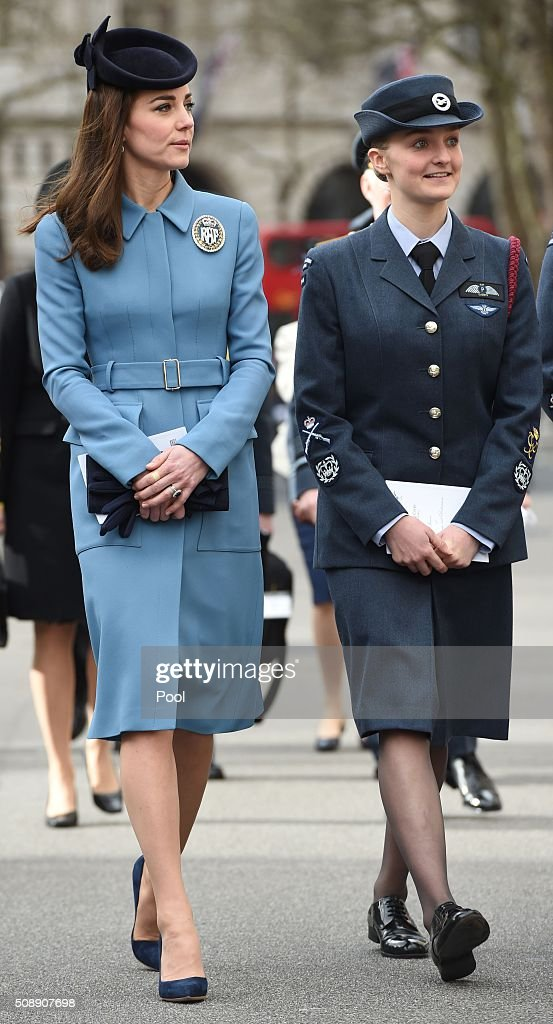 Britain's <a gi-track='captionPersonalityLinkClicked' href=/galleries/search?phrase=Catherine+-+Duchess+of+Cambridge&family=editorial&specificpeople=542588 ng-click='$event.stopPropagation()'>Catherine</a>, Duchess of Cambridge, attends a church service at St Clement Danes in London on February 7, 2016. The Duchess of Cambridge marked the 75th anniversary year of Britain's Royal Air Force (RAF) Air Cadets in her first official engagement in her role as Honorary Air Commandant. / AFP / POOL AND Eddie Mulholland / Eddie Mulholland
