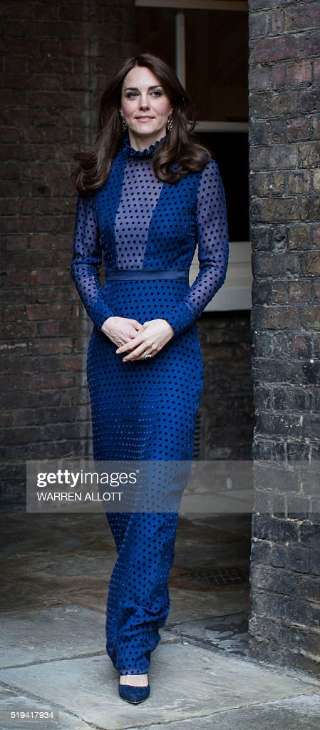 Britain's Catherine Duchess of Cambridge attends a reception at Kensington Palace London on the April 6 2016 ahead of their tour of India and Bhutan...