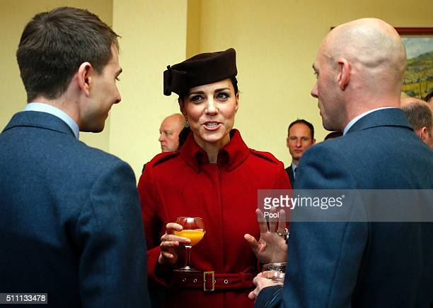 Britain's Catherine Duchess of Cambridge attends a reception following a ceremony marking the end of RAF Search and Rescue Force operations during a...