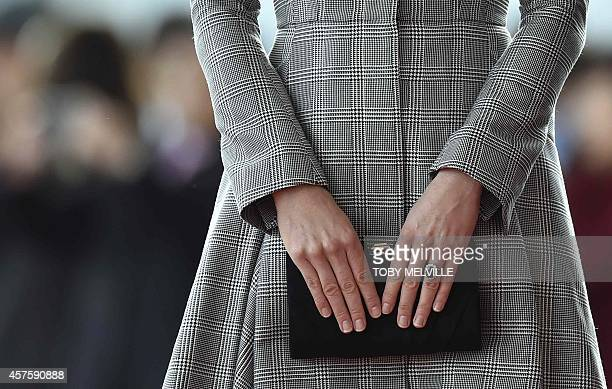 Britain's Catherine Duchess of Cambridge attends the ceremonial welcome ceremony for Singapore's President Tony Tan Keng Yam at the start of a state...