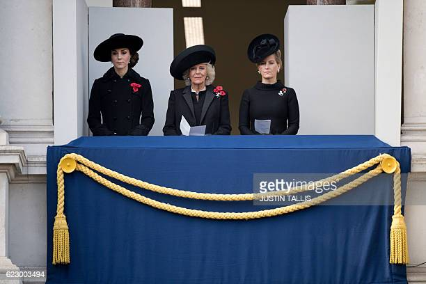 Britain's Catherine Duchess of Cambridge Britain's Camilla Duchess of Cornwall and Britain's Sophie Countess of Wessex watch from a balcony the...