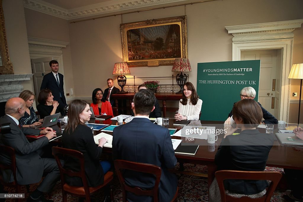 Britain's Catherine, Duchess of Cambridge, (3rd R) is pictured as she guest-edits the British edition of news website The Huffington Post at Kensington Palace in London, on February 17, 2016. The mother-of-two launched a new global initiative, 'Young Minds Matter', as she took over the site, writing: 'For too long we have been embarrassed to admit when our children need emotional or psychiatric help.' / AFP / Chris Jackson