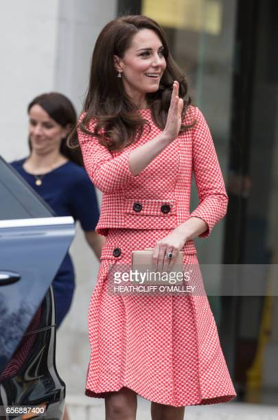 Britain's Catherine Duchess of Cambridge is pictured attending the launch of a series of films to raise awareness of maternal mental health...
