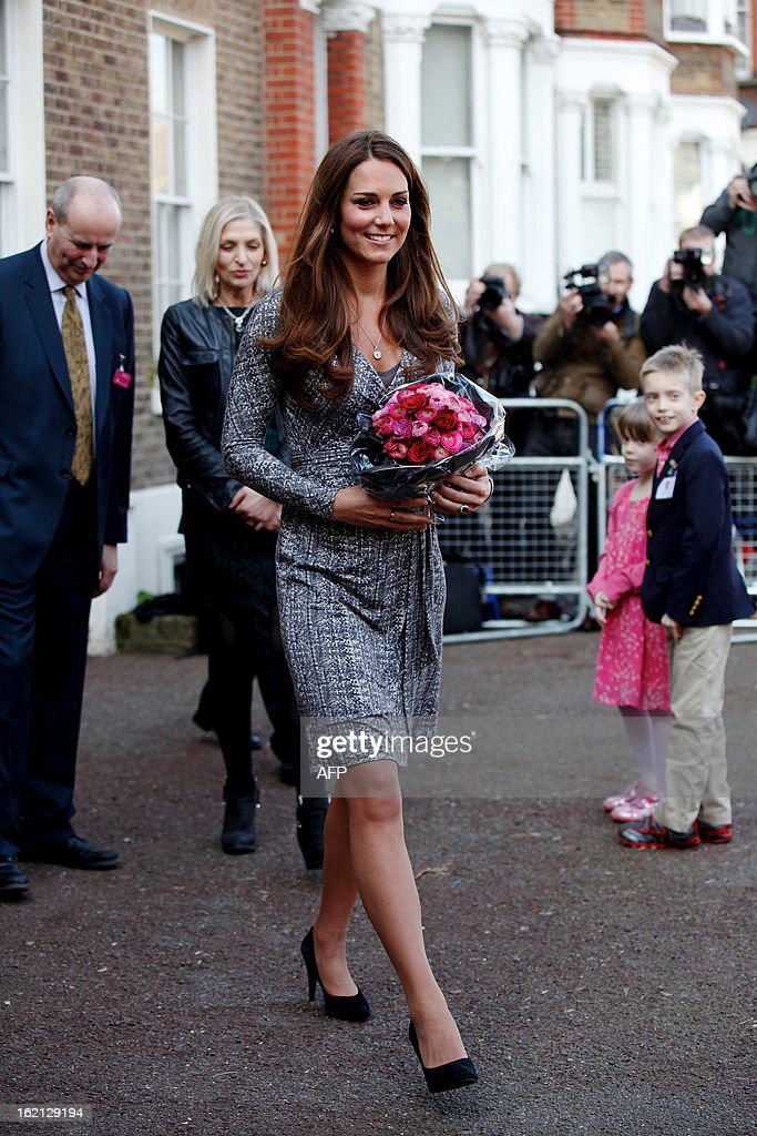 Britain's Catherine, Duchess of Cambridge leaves Hope House charity in south London on February 19, 2013. The Duchess visited Hope House, an all-female rehabilitation centre which is is one of the projects run by her patronage, Action on Addiction.