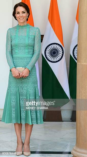 Britain's Catherine Duchess of Cambridge looks on ahead of a lunch event with India's Prime Minister Narendra Modi at Hyderabad House in New Delhi on...