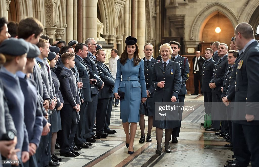 Britain's <a gi-track='captionPersonalityLinkClicked' href=/galleries/search?phrase=Catherine+-+Duchess+of+Cambridge&family=editorial&specificpeople=542588 ng-click='$event.stopPropagation()'>Catherine</a>, Duchess of Cambridge, meets Royal Air Force (RAF) Air Cadets following a church service at St Clement Danes in London on February 7, 2016. The Duchess of Cambridge marked the 75th anniversary year of Britain's Royal Air Force (RAF) Air Cadets in her first official engagement in her role as Honorary Air Commandant. / AFP / POOL AND Eddie Mulholland / Eddie Mulholland