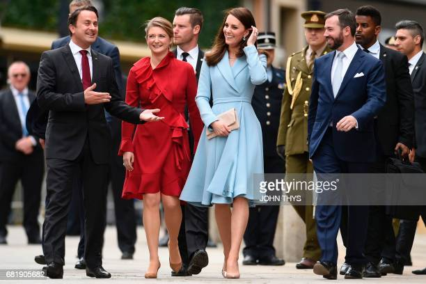 Britain's Catherine Duchess of Cambridge Prince Guillaume Hereditary Grand Duke of Luxembourg and Princess Stephanie Hereditary Grand Duchess of...