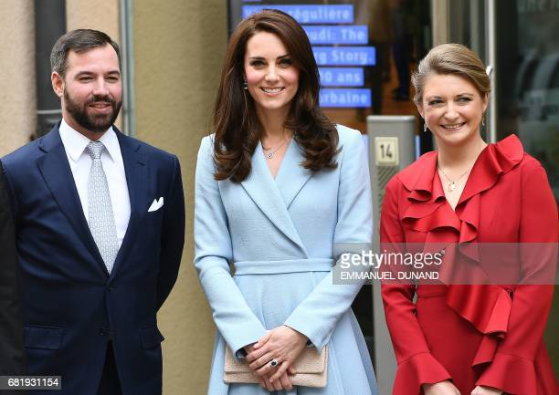 Britain's Catherine Duchess of Cambridge Princess Stephanie Hereditary Grand Duchess of Luxembourg and Prince Guillaume Hereditary Grand Duke of...
