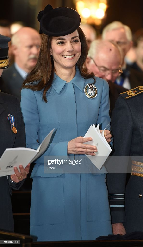 Britain's <a gi-track='captionPersonalityLinkClicked' href=/galleries/search?phrase=Catherine+-+Duchess+of+Cambridge&family=editorial&specificpeople=542588 ng-click='$event.stopPropagation()'>Catherine</a>, Duchess of Cambridge, reacts as she attends a church service at St Clement Danes in London on February 7, 2016. The Duchess of Cambridge marked the 75th anniversary year of Britain's Royal Air Force (RAF) Air Cadets in her first official engagement in her role as Honorary Air Commandant. / AFP / POOL / Eddie Mulholland