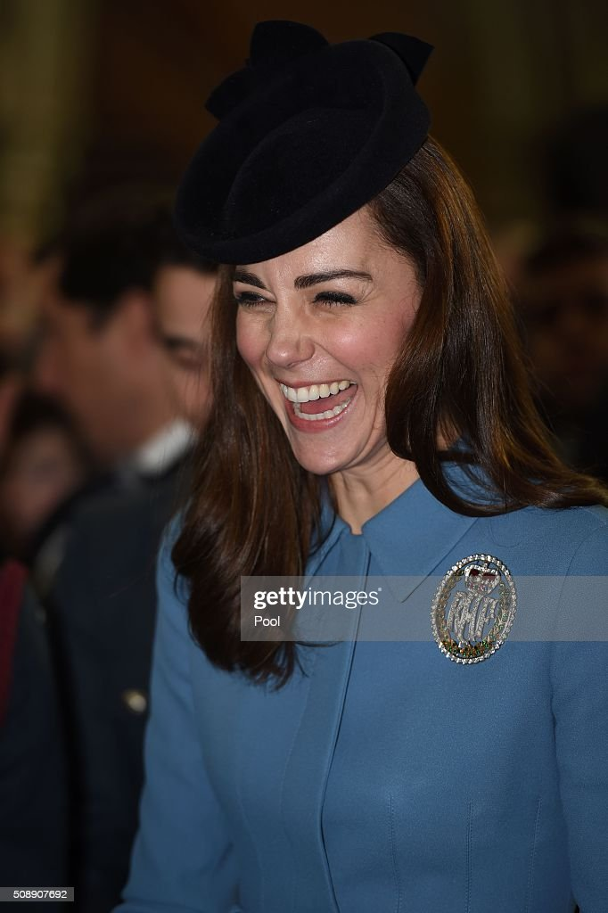 Britain's <a gi-track='captionPersonalityLinkClicked' href=/galleries/search?phrase=Catherine+-+Duchess+of+Cambridge&family=editorial&specificpeople=542588 ng-click='$event.stopPropagation()'>Catherine</a>, Duchess of Cambridge, reacts as she attends a church service at St Clement Danes in London on February 7, 2016. The Duchess of Cambridge marked the 75th anniversary year of Britain's Royal Air Force (RAF) Air Cadets in her first official engagement in her role as Honorary Air Commandant. / AFP / POOL AND Eddie Mulholland / Eddie Mulholland